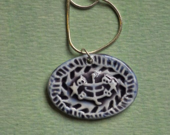 The Greatest Name--- handmade pottery pendant necklace in Deep Violet