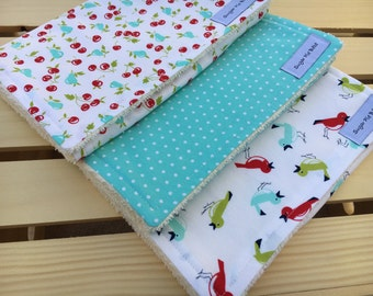 Baby Gifts for Girls - Baby Burp Cloths - Set of 3 - Baby Shower Gift