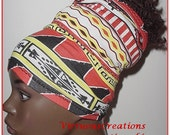 HeadTube-HeadBand-Red-Black-Yellow-White-African Print-Natural Hair Accessories