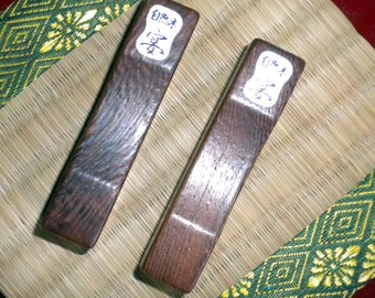 Vintage formal wood chopstick rest pair hashioki with calligraphy