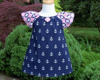 Girls Dress, Girls Peasant Dress, Girls Summer Dress, Girls Anchors Dress, Beach Picture Dress, Baby Girl Dress, Ready to Ship,