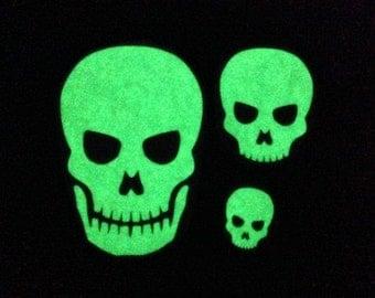 Set of Three Glow-in-the-dark Skull Decals