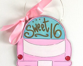 Sweet 16 ornament - car ornament - 16th birthday ornament - pink car - personalized ornament - sweet 16 -  drivers license - girl