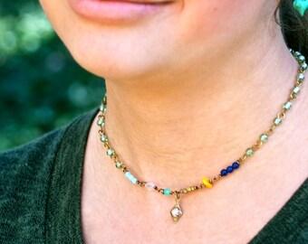 Colorful beaded choker necklace,charm necklace,boho jewelry. Tiedupmemories