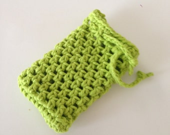 Crochet soap saver in lime green, soap sack, soap holder