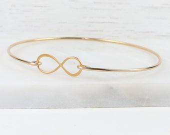 Gold Infinity Bangle Bracelet, Gold Bracelet, Gold Bangle Bracelet, Infinity Bracelet, Infinity Gold Bracelet, Bridesmaid Jewelry [#774]