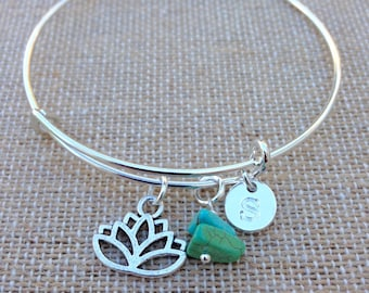 BODHI - lotus flower with turquoise and initial charm bracelet - yoga jewelry - silver wire personalized initial bangle bracelet