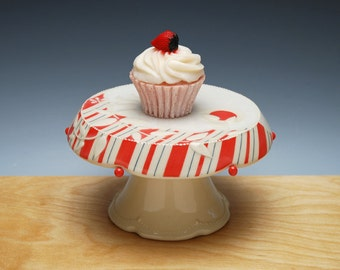 Ivory Cupcake Stand w. Cherry Red Stripes & Navy Pinstripes, Victorian modern