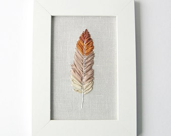 Embroidered brown feather, 5 x 7 framed embroidery art work, nature lover's home decor, silk ribbon embroidery, fiber art