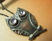 Owl Necklace, Copper, Sterling Silver And Amethyst Necklace, Gemstone Necklace, Owl Pendant, Art Jewelry, Owl Jewelry, Amethyst Jewelry