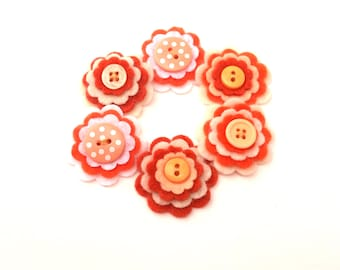 Orange and Rust Felt Flower Embellishments, Scrapbook Supplies, Set of 6 Flowers, Card Making Decoration