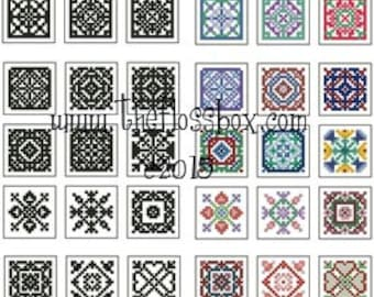 Mini Biscornu Cross Stitch Pack 2