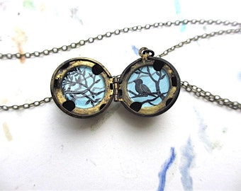Blackbird Locket, Miniature Oil Painting, Dark Metal Necklace with Bird and Branches