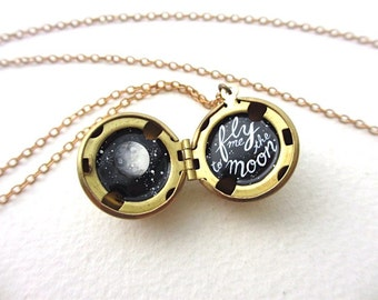 Fly Me to the Moon Necklace, Oil-Painted Locket, Miniature Made by Hand
