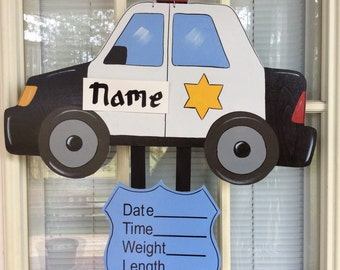 Hospital wreath for baby, Baby door hanger, wood door hanger, police car hospital baby announcement, baby door decor