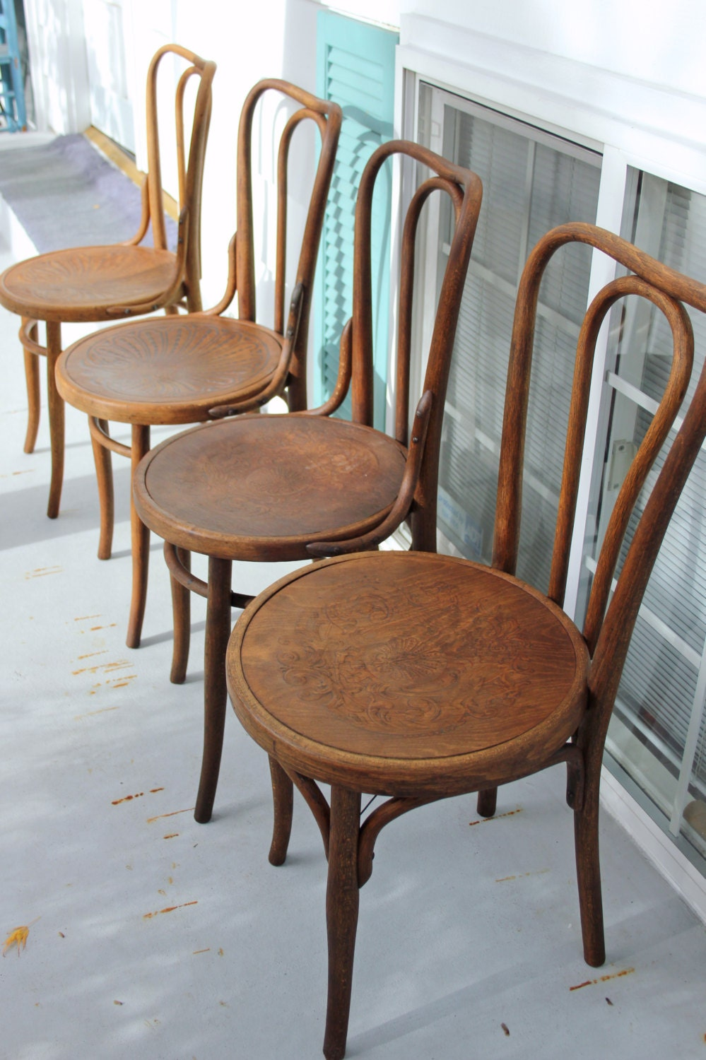 4 Antique Cafe Bistro Bentwood Thonet Chairs Modern Bohemian Dining Chairs