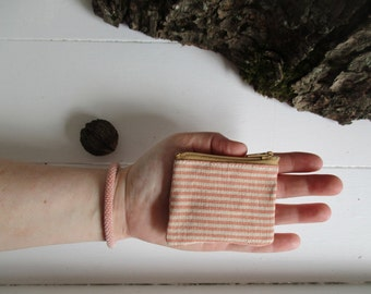 The Coin Collector summer coral striped zip case mini zipper change pouch minimalist Flea Market cash fund purse Small vegan purse