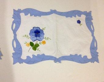 Placemat Set Vintage Antique Flowers Hand Stitched Applique Placemats Tea Party Linen