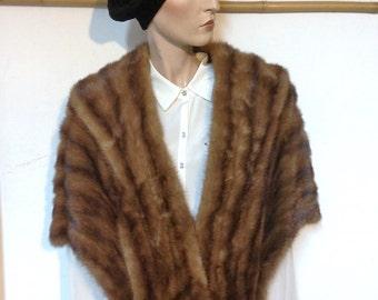 SALE Sable Stole Brown Vintage 50s Size 8 Sable Cape
