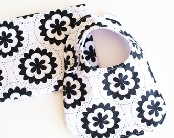 Baby Girl Gift Set Bib and Burp Cloth with Minky Black and White Flowers