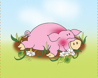 "4"" Relaxing Piggy Art Panel"