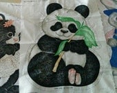 INCOMPLETE - Front Panels Only - 3 Vintage Spring Panda, Skunk and Rabbit Stuffed pillow panel fabric panel