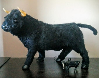 Vintage Black Bull Figure Figurine Synthetic Fur and Miniature Plastic Bull Torres Charm Spanish Wine Charm Party Decoration
