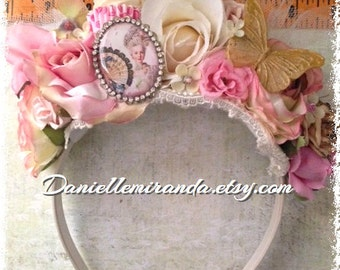 SALE Marie Antoinette Eat Cake Flower Crown Headband