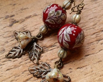 Fleur...Lampwork vintage style earrings by Pixie Willow Designs