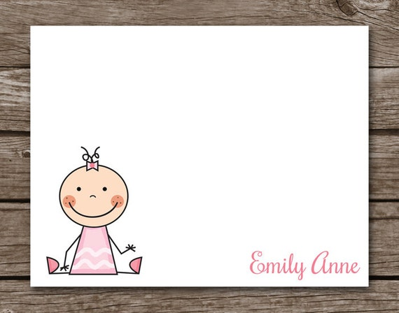 PRINTABLE Baby Thank You Cards,  Baby Note Cards, Baby Cards, Baby Shower Thank You Cards, Stick Figure, Personalized Cards