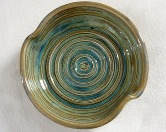 Stoneware Soap Dish, Spoon Rest, or Garlic Plate - Textured Turquoise