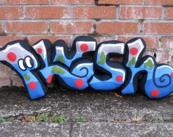 Huge Plush Graffiti Piece of Soft Sculpture Artwork Letter Word Art