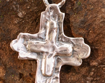 Southwest Cowgirl Cross Sterling Silver Pendant, AP454