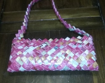 Candy wrapper handbag in Pink and White
