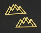 Exclusive - 6pcs Raw Brass Mountain Charm / Pendant, Fit For Necklace, Earring, Brooch - TG181