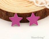 10pcs Purple Star Wood Cabochons / Charm, Perfect for Earring, Necklace - HWE401B