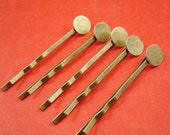 20% OFF SALE - 20pcs 48mm Antique Bronze Bobby Pins With 8mm Round Pad HA118
