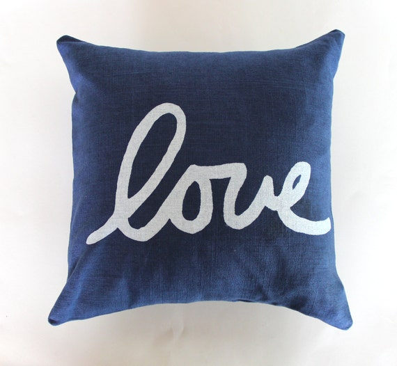 Navy Blue and White Throw Pillow / Blue and Gold Love Pillow