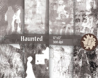 Ghostly People Printable Papers , hand printed mixed media art journaling 12X12 backgrounds, instant download, scrapbooking