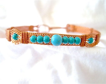 Turquoise Beaded and Copper Wire Wrapped Bracelet