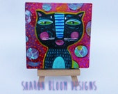 Acrylic Cat Painting with Easel mini painting One of a Kind Sharon Bloom Designs