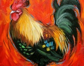Rooster 822 12x12 inch animal portrait original oil painting by Roz