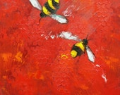 Bee painting 348 12x12 inch insect animal portrait original oil painting by Roz