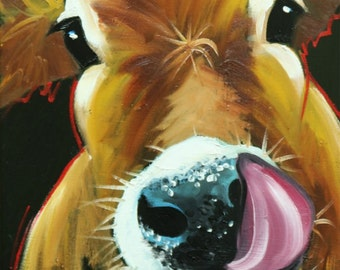 Cow painting 1157 12x16 inch original animal portrait oil painting by Roz