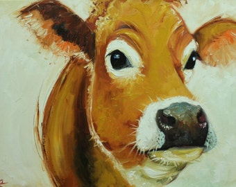 Cow painting 1109 18x24 inch animal original oil painting by Roz