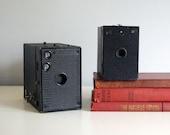 Vintage Box Camera Pair 1920s Kodak Brownie 2A Model B, Antique 1800s Dry Plate Camera Industrial Man Cave Decor Vintage Electronics