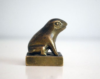 Brass Chinese Seal, Frog Figurine Chop, Brass Animal Stamp, Printing Stamp, Chinoiserie, Antique Figural Chop, Frog Statue, Asian Decor