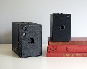 Vintage Box Camera Pair 1920s Kodak Brownie 2A Model B, Antique 1800s Dry Plate Camera Industrial Man Cave Decor Vintage Electronics