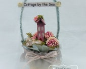 Shabby PINK Beach Cottage by the Sea Beach Pail/ornament