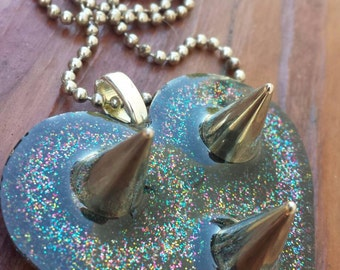 Glitter Resin Heart with Spikes from the Guarded Heart Series
